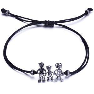 Jewelry - NEW Mom Dad Son Family Black String Bracelet